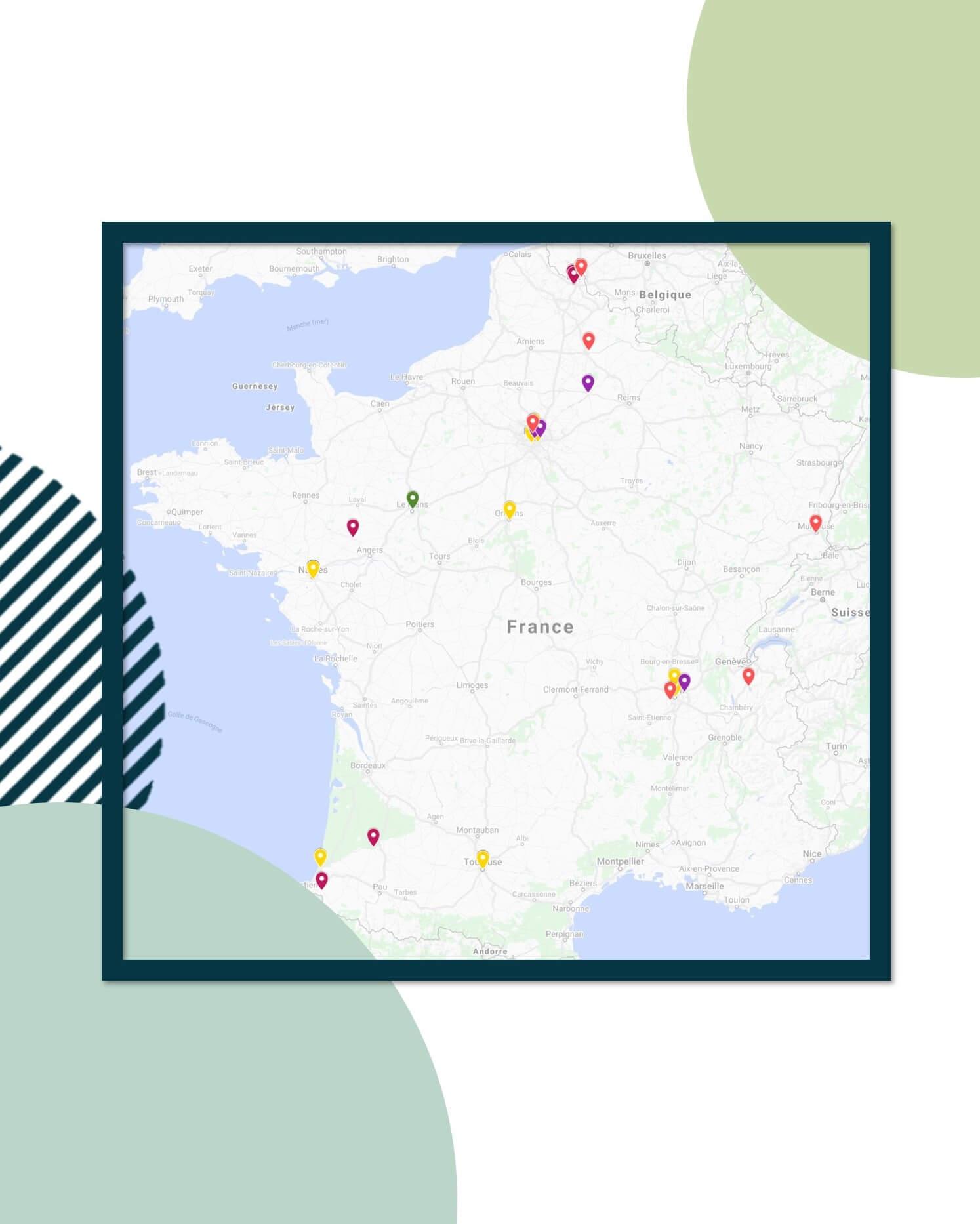 Carte des principaux fournisseurs FairSpace